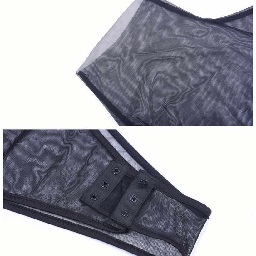 BOOFEENAA сексуальный прозрачный высокий воротник один рукав вырезанная черная сетка комбинезон женский прозрачный Летний комбинезон боди костюмы Топы C70-G33