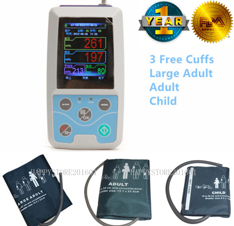 CONTEC US 24 Hours Ambulatory Blood Pressure Monitor ABPM50+3 Cuffs+PC Software free 6 cuffs contec manufacturer shipping abpm50 24 hours ambulatory automatic blood pressure monitor nibp ce approved