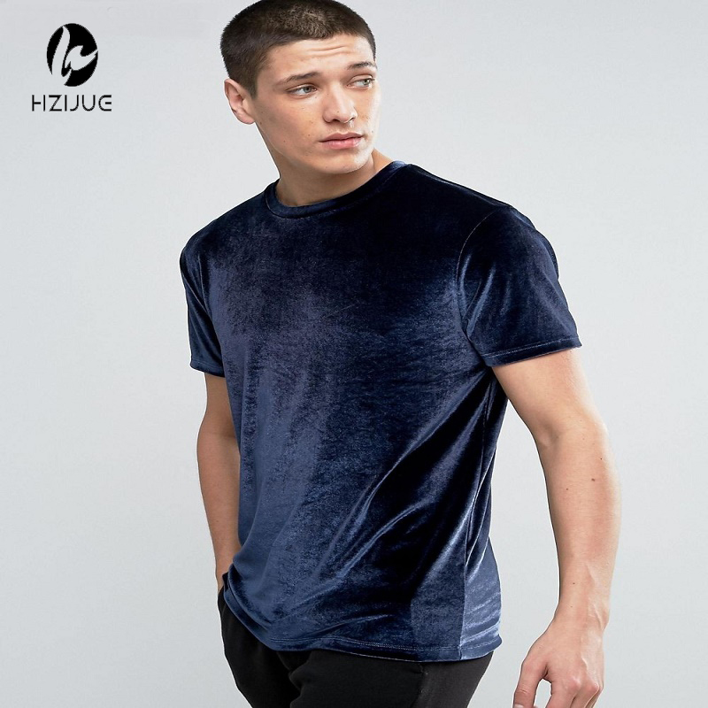 HZIJUE Velour T Shirt 2017 Summer Men's Short Sleeve O-neck Velvet Fabric Hip Hop Tshirt Kanye Swag Men T-shirt