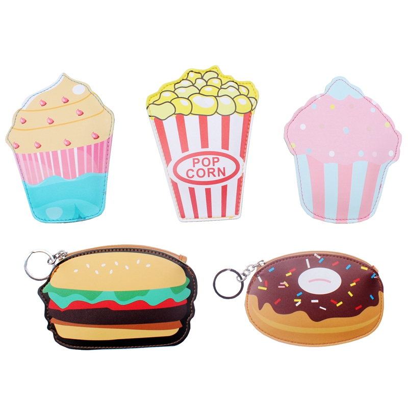 Creative Cute Cartoon Coin Purse Key Chain For Girls PU Leather Icecream Cake Popcorn Kids Zipper Change Wallet Card Holder bags