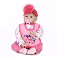Мягкая ткань тело ребенка игрушка кукла девушки Игровая кукла 22 дюймов куклы реборн в розовом