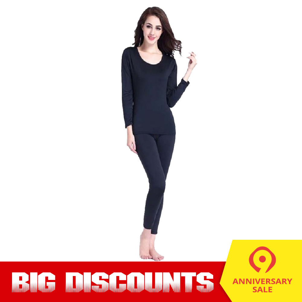 Womens Thermal Underwear Set Base Layer Long Johns Skiing Winter Warm Top and Bottom
