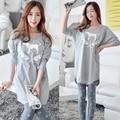 2017 Del Otoño Del Resorte 100% Algodón Mujeres Pijamas Conjuntos de Sleepcoat y Pantalones Señora de la Historieta ropa de Dormir Ropa de Hogar Femenina