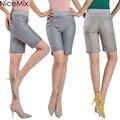 NiceMix 2017 Plus Size 3XL Shorts Women Elastic High Waist Shorts Casual Knee Length Short Pantalon Femme Ladies Shorts