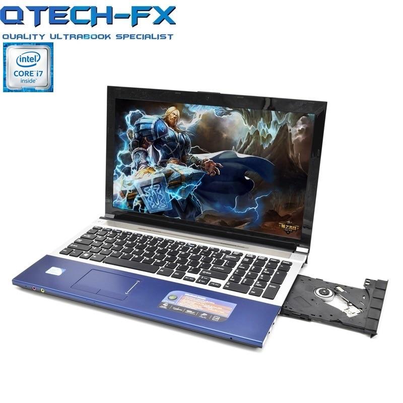 i7 Gaming Notebook 15.6 8GB RAM SSD 128/256GB/750GB/1TB HDD DVD Fast CPU Metal Laptop Business AZERTY Spanish Russian Keyboard