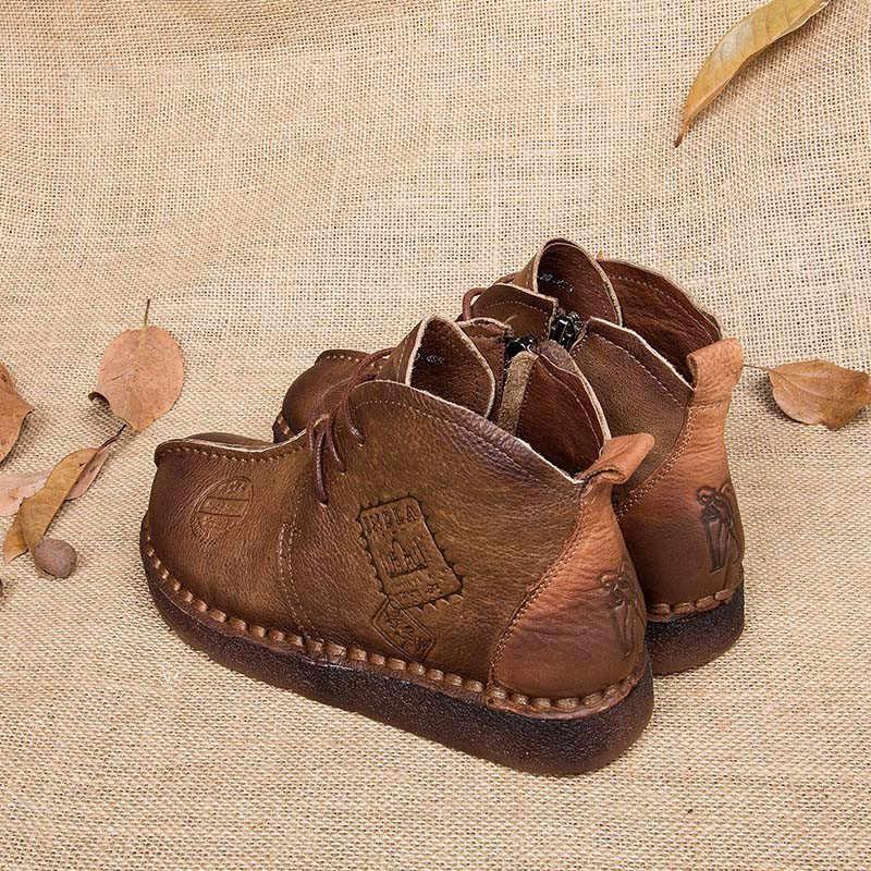 Cuculus Sonbahar Kış Kadın Ayakkabı Kadın Retro Çizmeler El Yapımı yarım çizmeler düz çizmeler Hakiki deri ayakkabı Artı Boyutu 42 1965