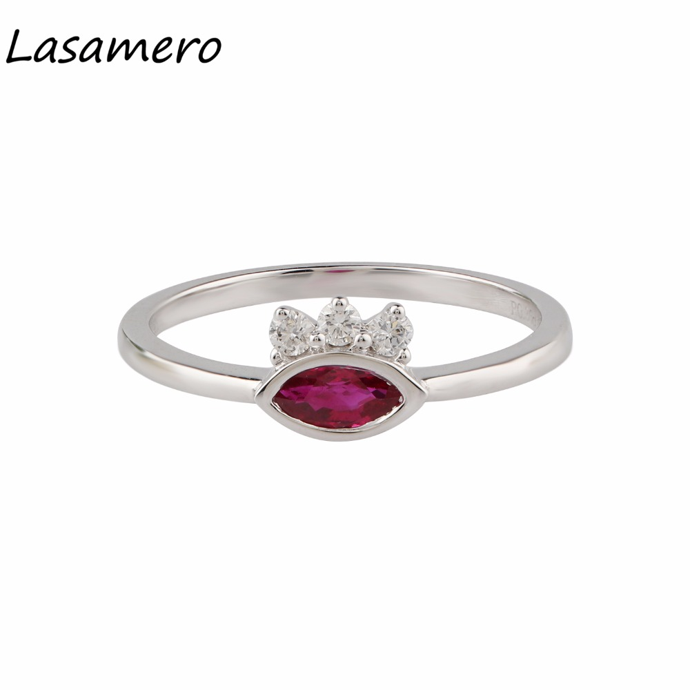 LASAMERO Marquise Shape 0.35CT Natural Ruby Gemstone Diamond 18k White Gold Vintage Style Accents Promise Engagement Ring