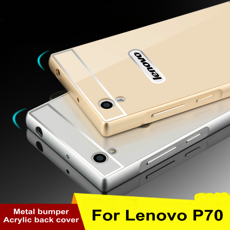 2016 Hot Lenovo P70 Metal Case Acrylic Back Cover & Aluminum Frame Set Hard Phone Bag Cases for Lenovo P70t
