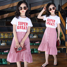 Summer Clothes for Kids Girls Fashion Kids Outfit Children Cotton Skirt Sets Letter Print White T shirt + Plaid Skirts 2pcs Suit