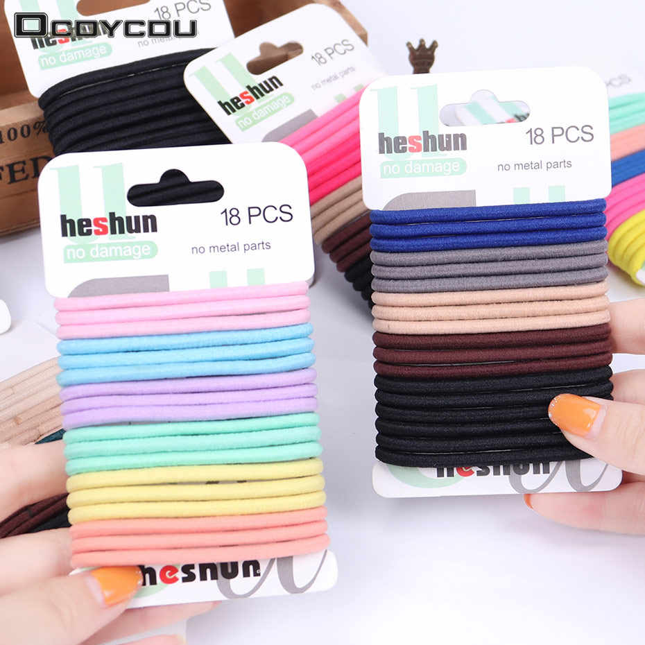 18PCS/Sets Kids Color Hair Tie Set Women Fashion Hair Bands Hair Accessories Trendy Hairband Women Elastic Sets Braid Elastic