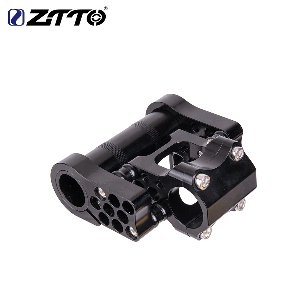 ZTTO 7075 aluminum alloy CNC ultralight high strength adjustable folding bike Double rod fitting for folding bike 25 4mm in Bicycle Stem from Sports Entertainment