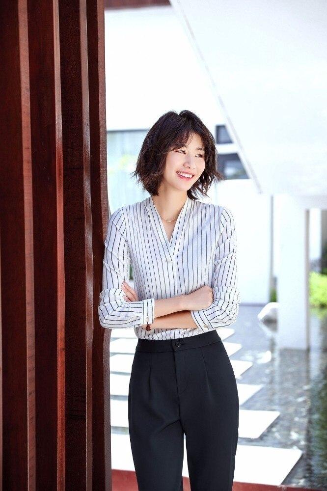 a16cd77fb6d1 Cuello en V de clásico estilo breve blusa de moda de la manga larga de las  mujeres de camisa Oficina dama Tops Blusas Femininas Camisas Mujer