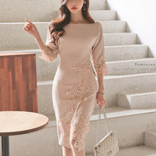 YoYo Bingo 2019 Spring Elegant Pink Lace Sleeve Slash neck Long Mid-Calf Party Dress