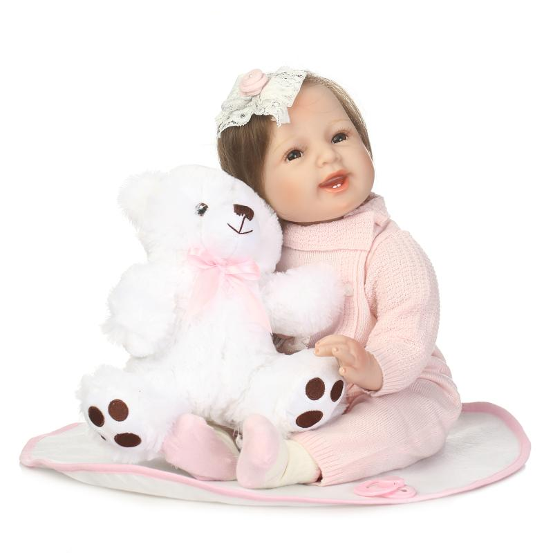 Smile Baby Girl Dolls Soft Silicone Reborn Babies with Fiber Hair Realistic Boneca Reborn Doll Girl Bebe Alive Doll Xmas Gifts npk cute smile baby girl dolls real soft silicone reborn babies 55 cm with fiber hair realistic boneca reborn doll