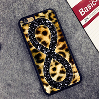 Infinity Glitter Leopard Print Fashion Phone Cover Case For Iphone 4 4s 5 5s SE 5c