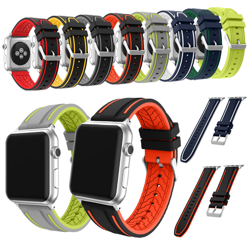 JANSIN fashion High quality Soft Silicone Sports strap band for Apple Watch 38mm 42mm Series 1/2/3 iWatch wristband eache silicone watch band strap replacement watch band can fit for swatch 17mm 19mm men women