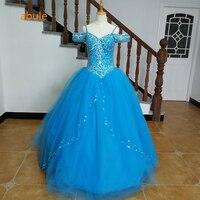Abule נסיכת תחרה עד נוצצות יוקרה ואגלי Quinceanera שמלות 2018 כחול נשף שמלה 15 שנים גדלים מותאמים אישית טול שכבה