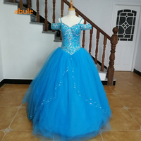 abule Quinceanera Dresses 2018 blue lace up sparkly beading luxury princess Debutante Gown 15 Years Layer Tulle Custom sizes