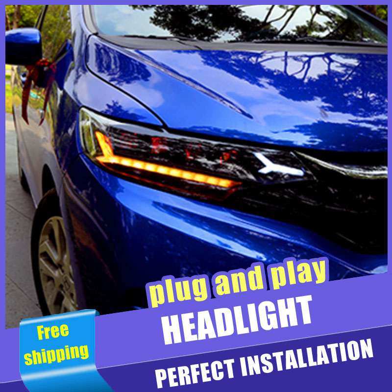 2PCS Car Style LED headlights for Honda fit 2013 2018 for fit head lamp all LED