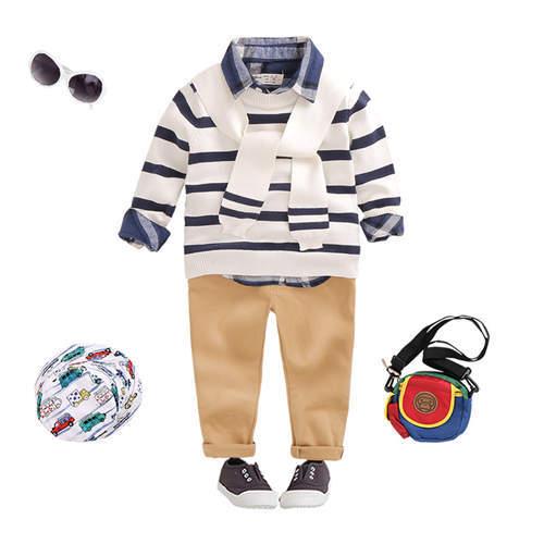 2016 camisola das crianças em idade escolar estilo lenço de algodão fino listras decorativas para o bebê meninos e meninas em crianças camisola de malha topos