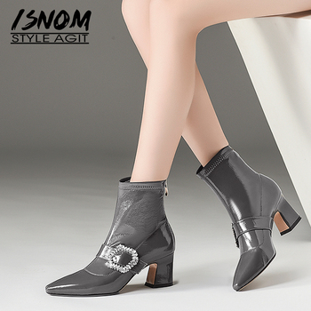 ISNOM Patent Leather Women Ankle Boots Pointed Toe Crystal Footwear Thick High Heels Female Boot Fashion Shoes Woman 2018 Winter