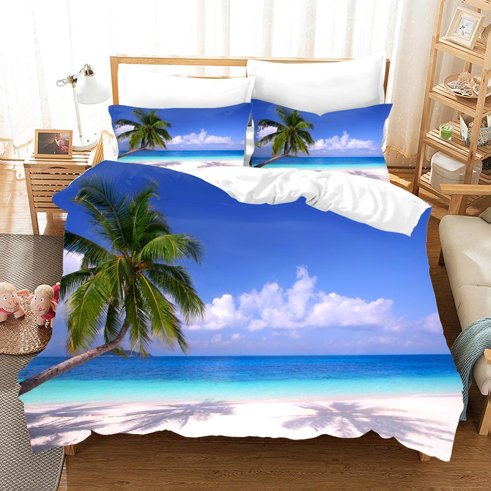 Набор постельного белья с 3d принтом, крутой летний комплект постельного белья с изображением морской звезды, пляжный отдых, волна, закат, друзья, подарок, пододеяльник, набор домашнего текстиля. - 2