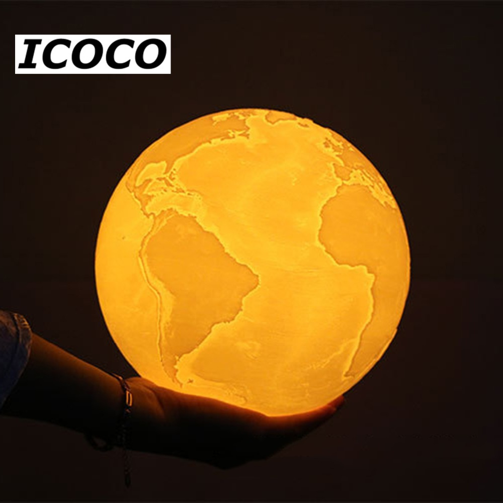 Tricolor 3D Light Print Earth Lamp Rechargeable Change Touch Colorful Moon Lamp USB LED Night Light For Bedroom,Creative Gift