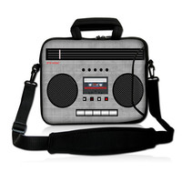 Old Cassette 14 15 15.4 15.6 '' Noble Laptop Notebook Shoulder Traveling Hand Carry Bag Sleeve Pouch Cover w Double Pockets