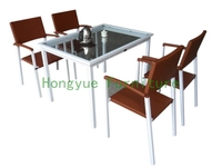 Outdoor New Wicker Dining Table Set With Cushion And Tempered Glass