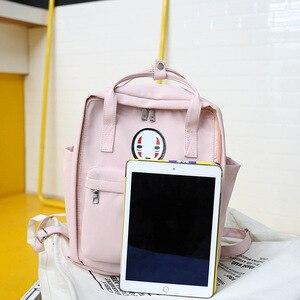Image 4 - Kobiety Canvas plecaki szkolne torby dla nastolatków dziewczyny czarne urocze plecaki szkolne torby podróżne na ramię torby na książki Famale plecak