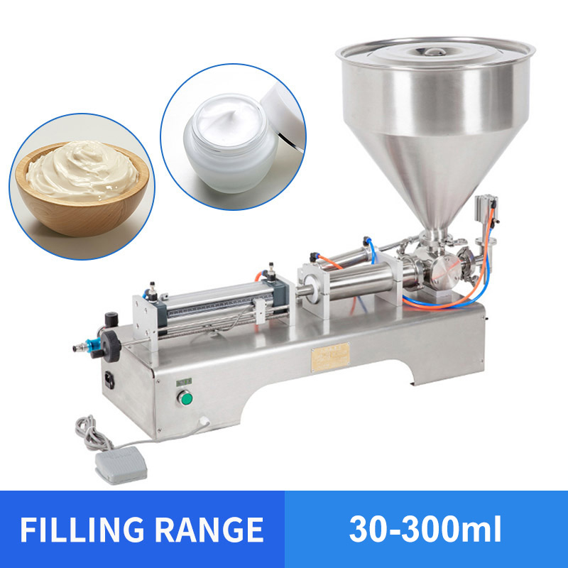 YTK 30-300ml Single Head Cream Shampoo Pneumatic Filling Machine Piston Cosmetic Paste Cream Shampoo Filling Machine Grind