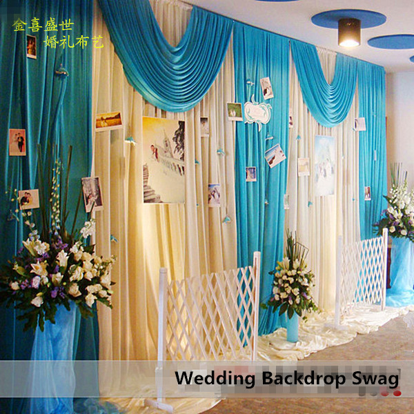 Wedding Backdrop Decor 3X6M Ice Silk White Curtains With Teal Blue Swag Pleated For