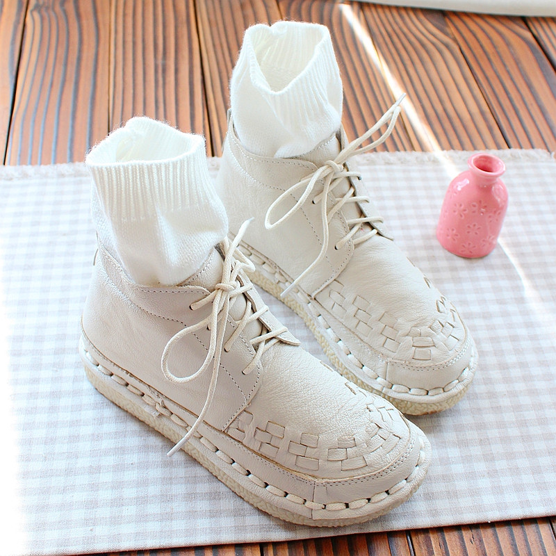 Nice Literary Retro Genuine Leather Lacing Short Boots Wool Mouth Casual Boots hand-woven Comfortable Soft Bottom Women BootsNice Literary Retro Genuine Leather Lacing Short Boots Wool Mouth Casual Boots hand-woven Comfortable Soft Bottom Women Boots