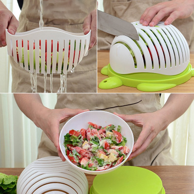 Kitchen Salads Tool Salad Cutting Bowl Wave Edge Salad Maker Fruit Vegetable Mixture Cutter Washing Strainer Hand Cooking Tool image