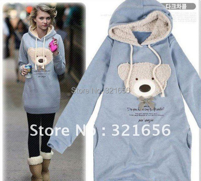 Hot sale  Popular woman fashion autumn spring litter bear warm hoodies sweatershirt Free Shipping