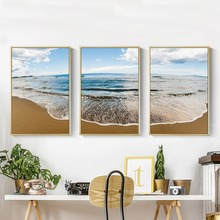 Nordic Style Sea and Beach Landscape Wall Art Canvas Poster and Print Canvas Painting Decorative Picture for Living Room Home