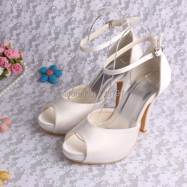 ФОТО Fashion Plus Size Shoes Ladies Open Toe Buckle Strap Bridal Wedding Sandals Ivory Free Shipping