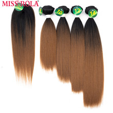 Miss Rola Synthetic Straight Hair Weft Ombre Colored Hair 8-14inch 4+1pcs/Pack 200g T1B/30 Weaving Bundles With Free Closure(China)