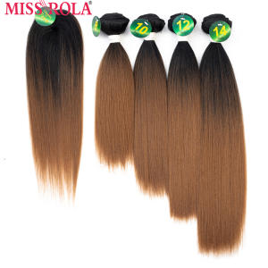 Hair-Weft Weaving-Bundles Free-Closure Colored Miss-Rola Straight Synthetic 4 with 1pcs/Pack
