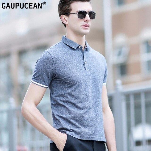 fa84c4939 95% Cotton 5% Spandex Men Polo Shirt Short Sleeve Blue Green Grey Pique  Summer Cool Breathable Casual Man Polo-shirt