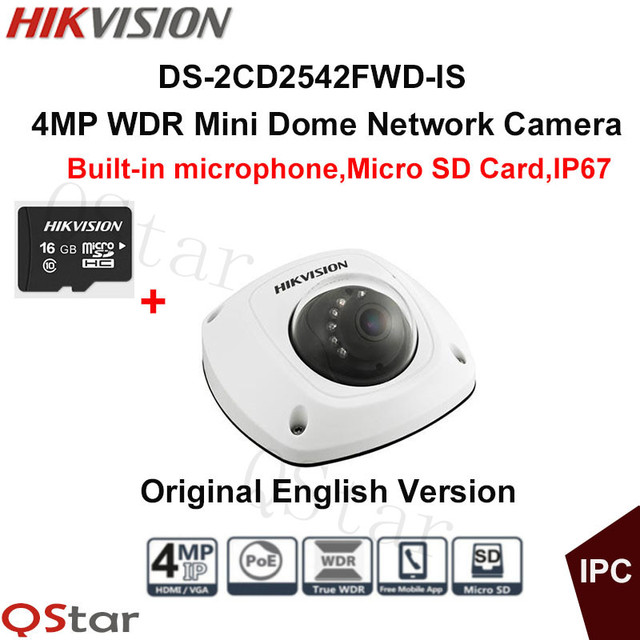 Hikvision Original English CCTV Camera DS-2CD2542FWD-IS 4MP WDR Mini Dome IP Camera IP67 POE built in microphone+16G SD Card