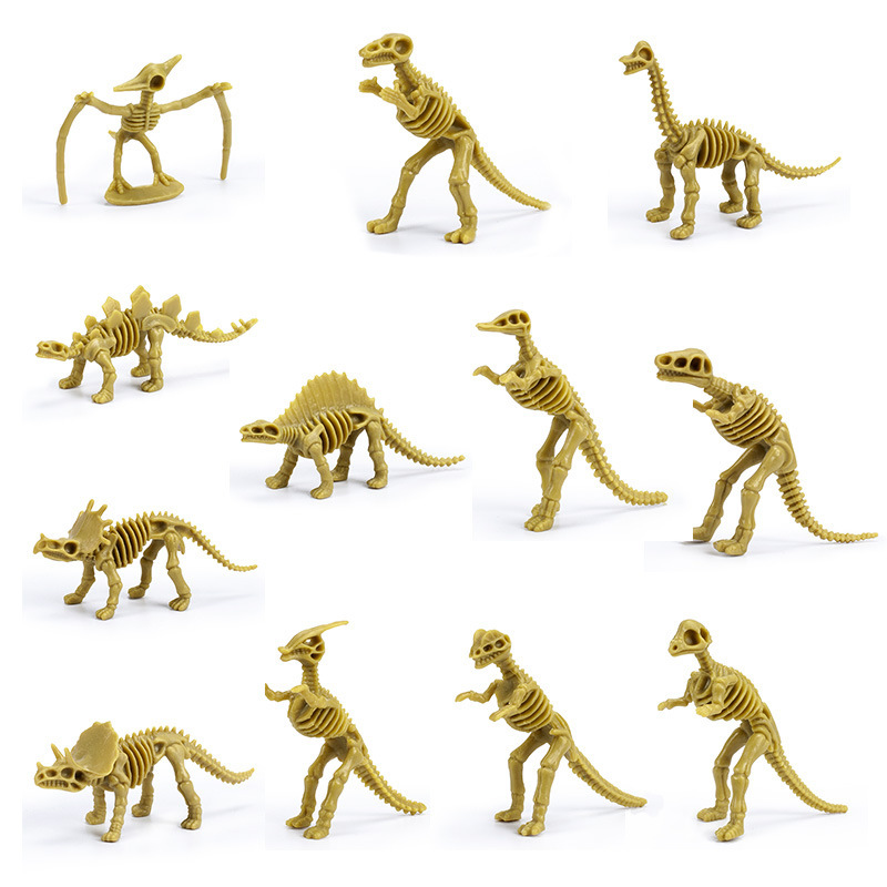 12pcs/lot Alpinia Oxyphylla Toy Dinosaur Model Environmental Protection PVC Archaeology Excavate Skeleton Action Figure Dolls