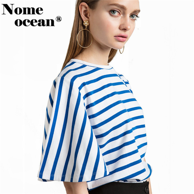 955514034ae4f STRIPED SHORT BELL SLEEVE TOP 2018 Summer Women Shirts Blue and White  Stripe Blouse OL Shirt