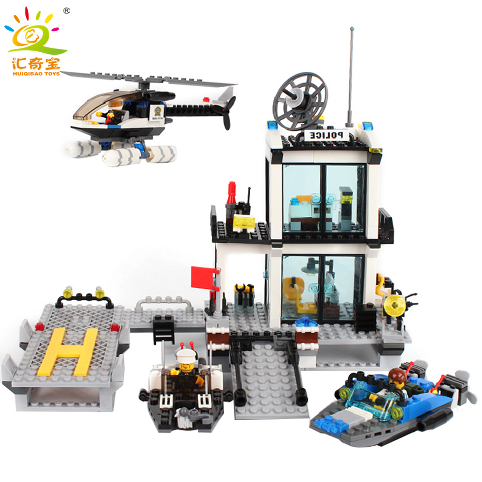 536PCS Police Station Helicopter Boat Model Prison Figures Building Blocks Compatible Legoe City Bricks Set Toys For Children military army war special police force ch 47 chinook helicopter building blocks sets bricks model kids toys compatible legoe
