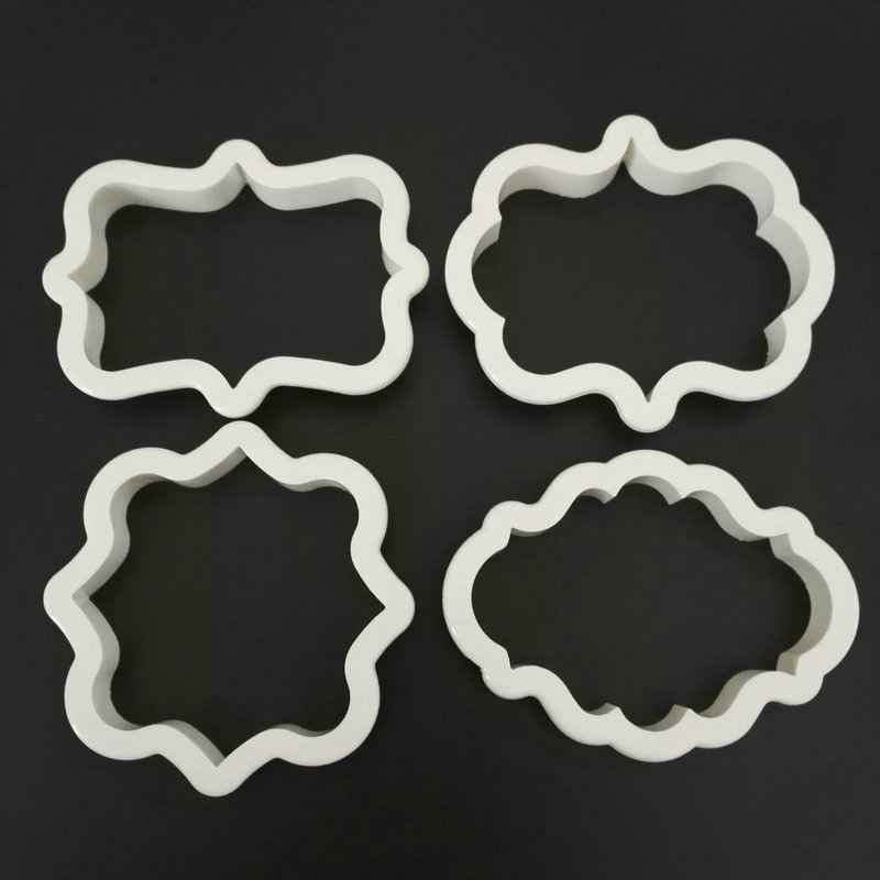 4pcs Vintage Plaque Frame Cookie Cutter Set Plastic Biscuit Mould Fondant Cutter Cake Decorating Tools