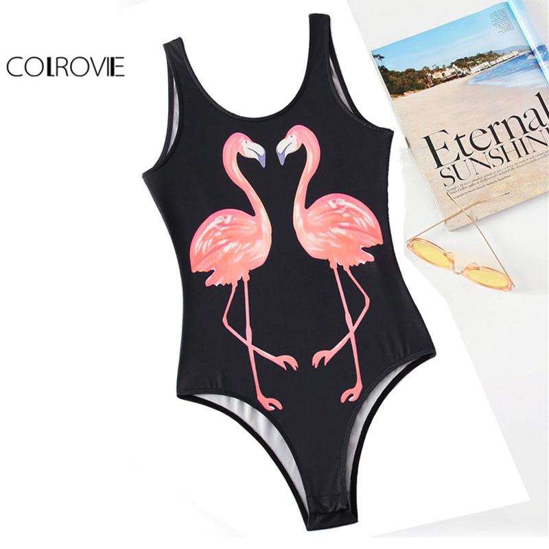 COLROVIE Flamingo Tank Bodysuit Black Skinny Leotard Women Backless Summer Bodysuits 2017 New Scoop Neck Sleeveless