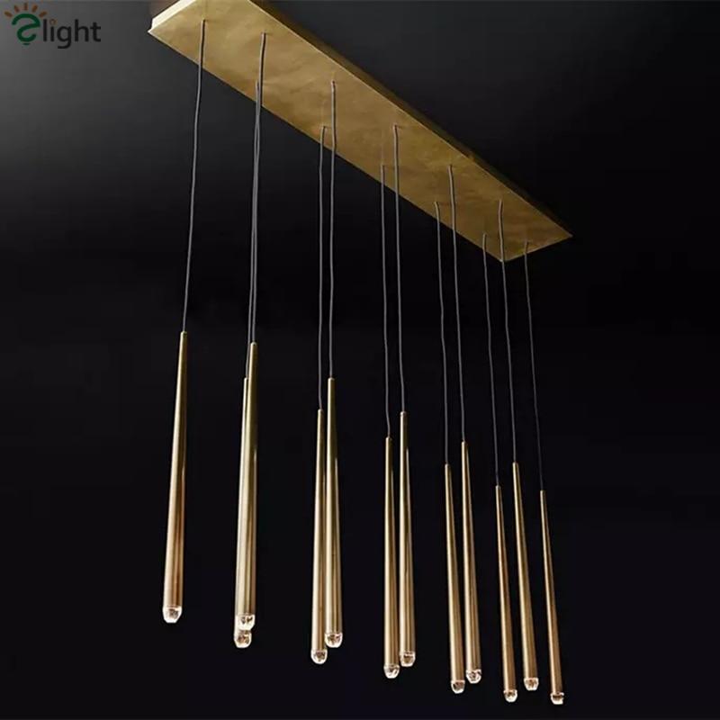 Dining Room Rectangle Led Pendant Lamp RH American 12 Light Straight Copper Pendant Light Lustre Suspend Lamp Hanging Lamp