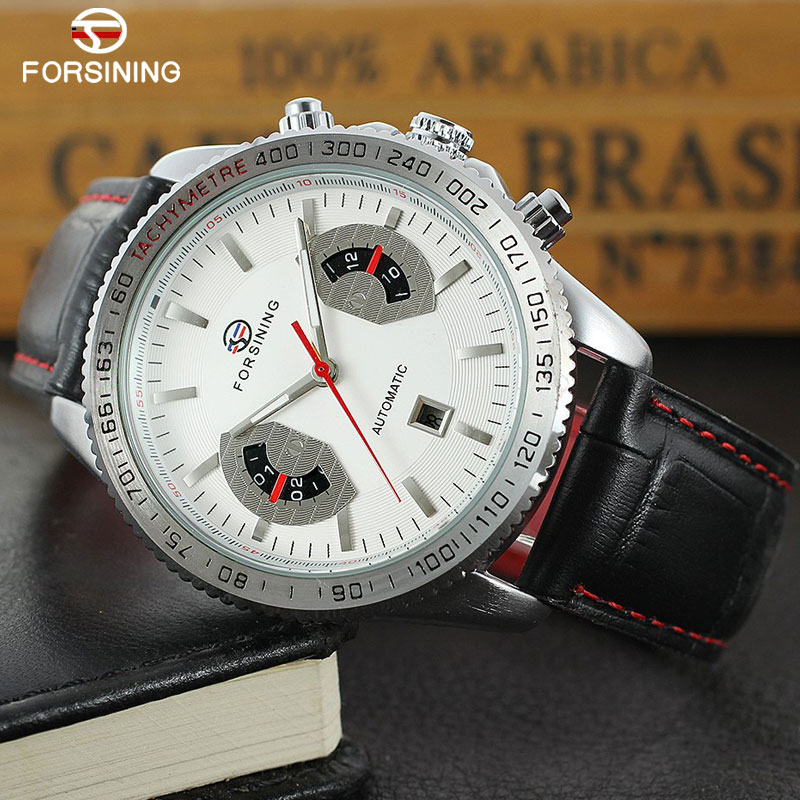 FORSINING Classic Men Watch Luxury Top Brand Leather Automatic Mechanical Date Luminous Hands Relogio Masculino forsining date display automatic mechanical watch men business leather band watches modern gift dress classic analog clock box