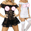 Women Strapless Sexy Lingerie Lace Underwear Jacquard Pattern Sexy Dress High Quality