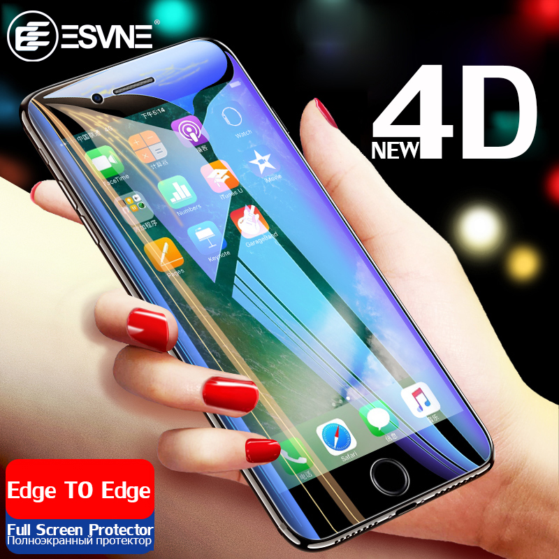 ESVNE NEW 4D Full Cover Edge Tempered Glass For iPhone 6 6s Plus Protection Glass For iPhone 7 8 X Plus Screen Protector Film in Phone Screen Protectors from Cellphones Telecommunications